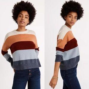 Madewell Crofton Multi Stripe Sweater Coziest Yarn